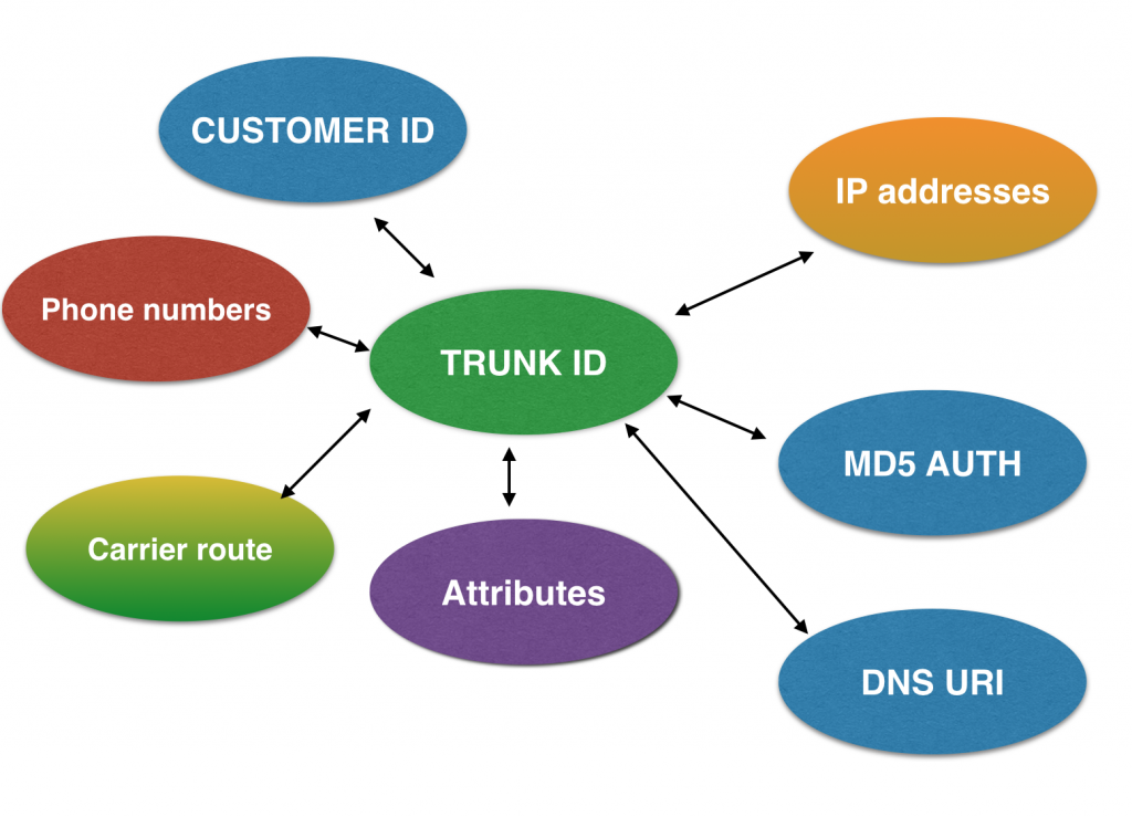 Part of the data model for a customer trunk in the Edvina SIP Trunk Server.